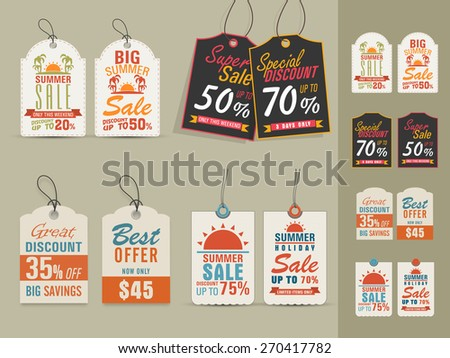 Collection of vintage tags or labels for Big Summer Sale with special discount offers. - stock vector