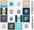 Collection of 16 vintage Thank You card designs. Well structured vector file with each card template on separate layer. - stock