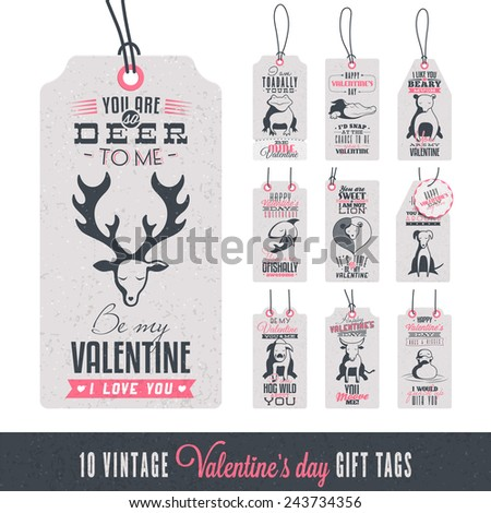 Collection of 10 Vintage Valentine's Day Related Gift Tags - stock vector