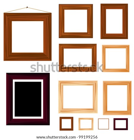 collection of vintage wooden frame - stock vector