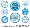 Collection of Water Badges and Stickers in Retro Style - stock vector