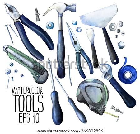 Collection of watercolor tools: cutter, screwdriver, pliers, adjustable wrench, bolt, screw, nut, scotch tape, measuring tape, hammer, dowel nail. Vector design elements isolated on white background - stock vector