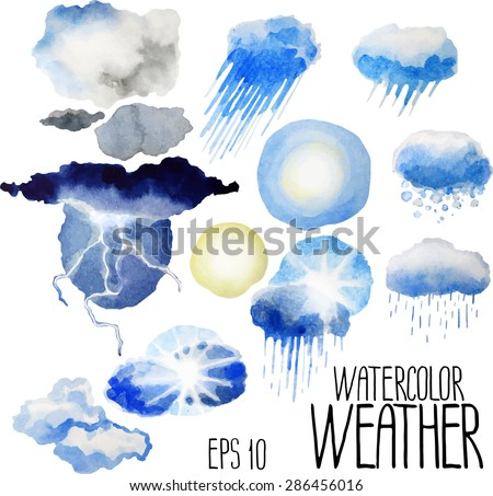 Collection of watercolor weather conditions: rainy, cloudy, sunny, stormy, snowy. Vector design elements isolated on white background - stock vector