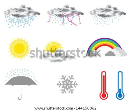 Collection of weather forecast icon 2-vector illustration - stock vector