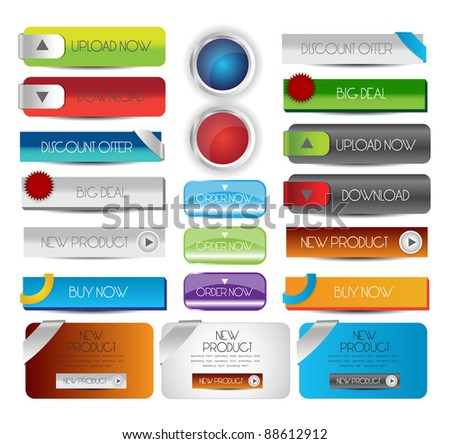 collection of web button with banners - stock vector
