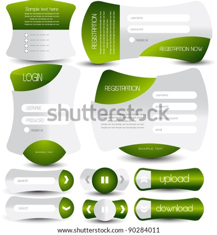 collection of web forms and buttons - stock vector