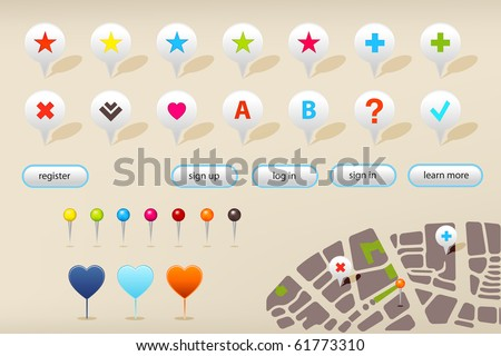 Collection Of Website And GPS Navigation Elements For Your Web Projects, With Pattern Grass, Vector Illustration - stock vector