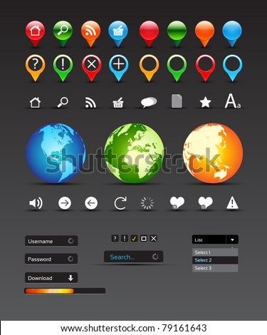 Collection Of Website Elements - Vector Design - stock vector