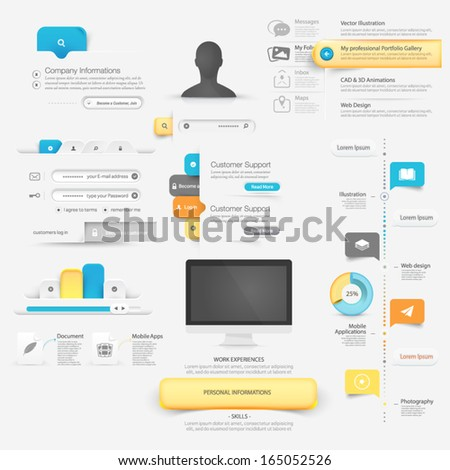 Collection of website template navigation UI Infographics  elements with icons - stock vector