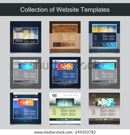 Collection website templates your business nine stock vector collection of website templates for your business nine nice and simple design templates with different wajeb Images