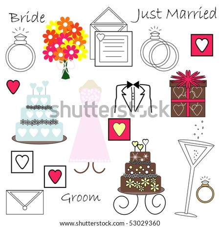 Collection of Wedding Vectors - stock vector
