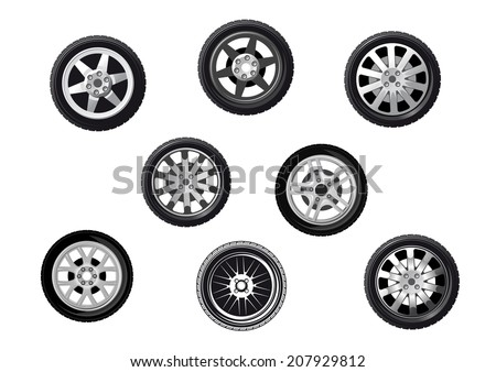 Collection of wheels or tyres with spoked alloy rims and hubs, isolated on white for transportation or service logo design - stock vector