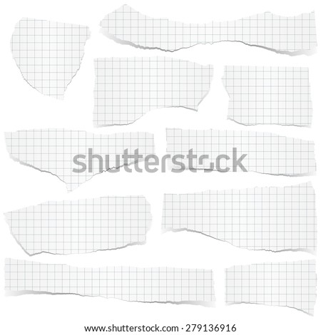 collection of white checkered scraps of papers with shadows - stock vector