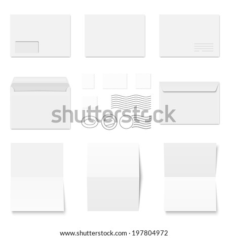 Collection of white envelopes with copy paper and postmarks - stock vector