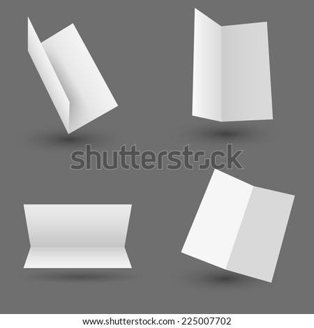 Collection of white paper isolated on gray