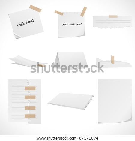 Collection of white papers. - stock vector