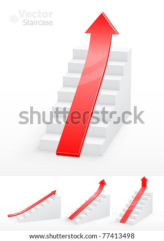 Collection of white staircases with red arrow - stock vector
