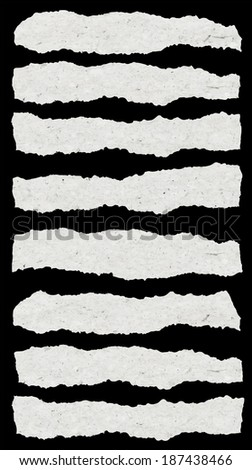 collection of white torn paper - stock vector
