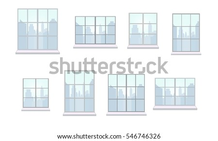 Collection of window frames of various shapes