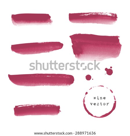 Collection of wine banners and blots on white background