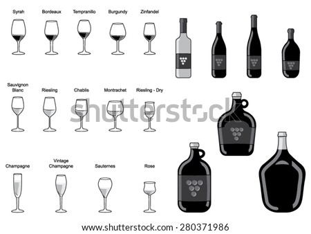 Collection of Wine Bottle and Wine Glass -Vector Image