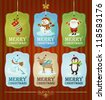 Collection of winter and Christmas labels - stock