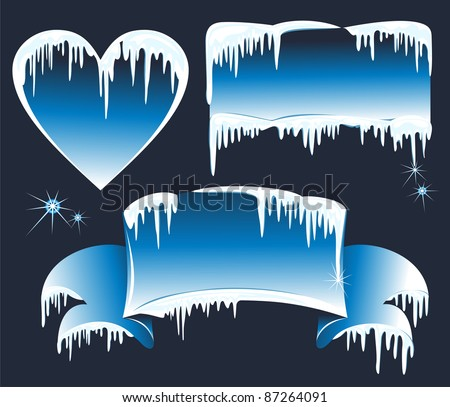 Collection of winter banners with icicles. Vector wintry design elements - stock vector