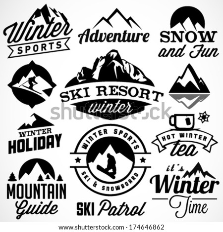 Collection of Winter Sports Badges and Labels. Vector Design Elements in Vintage Style - stock vector