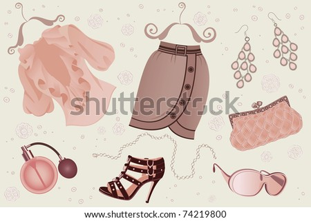 Collection of women fashion  objects - stock vector