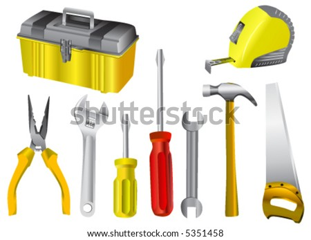 collection of work tool vector - stock vector