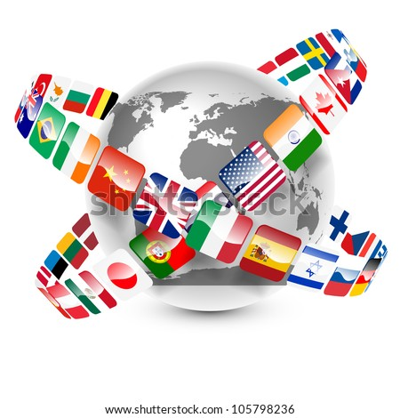 collection of world flags around the earth vector - stock vector