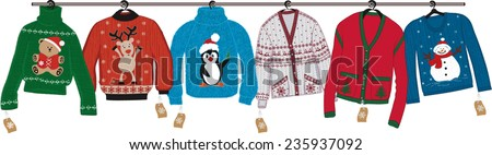 Collection of woven christmas sweaters hanging on shoulders isolated on white background - stock vector