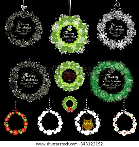 Collection of Xmas vintage decorations - stock vector
