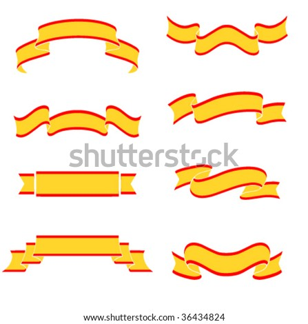 Collection of 8 yellow banners on white background. Illustration, vector file available - stock vector