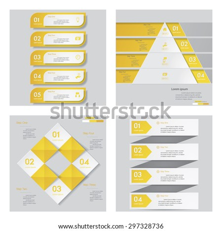Collection of 4 yellow color template/graphic or website layout. Vector Background. For your idea and presentation. - stock vector