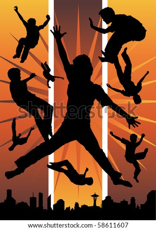 Collection of young boy silhouettes jumping against an urban city backdrop.