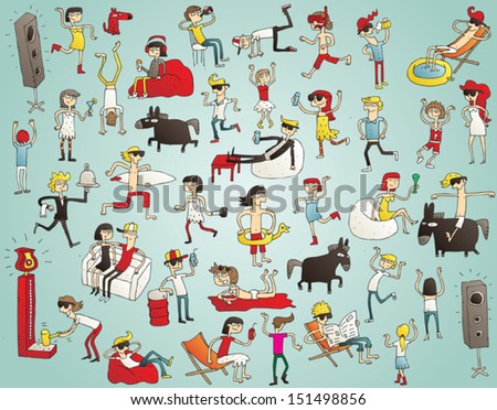 Collection of young people having fun (isolated), dancing, drinking etc. Illustration is hand drawn, elements are isolated and is in eps10 vector mode.  - stock vector
