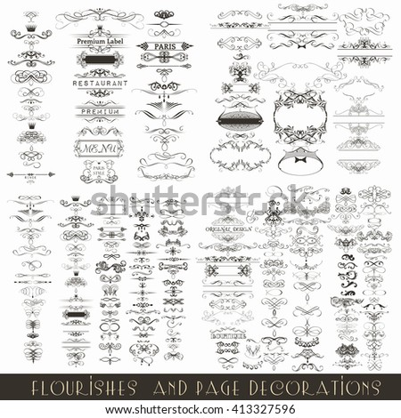 Collection or mega set of vector decorative frames for wedding invitations design - stock vector