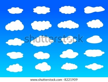 collection pattern shapes clouds vector - stock vector