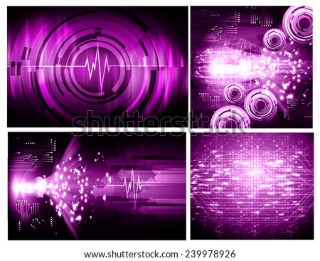 Collection purple Light Abstract Technology background set for computer graphic website internet and business. text box. Brochure. card. wave. diverse, different, divers, manifold, many, various