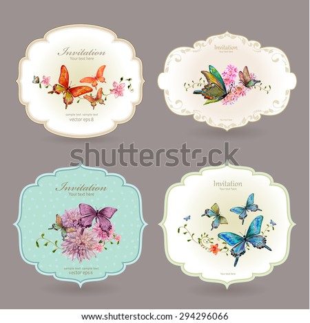 collection retro label with butterflies. watercolor painting. vector illustration - stock vector