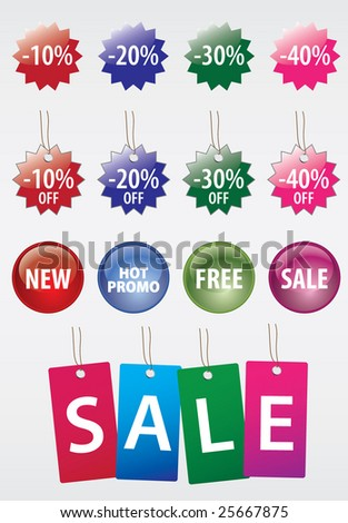 Collection sale stickers - stock vector
