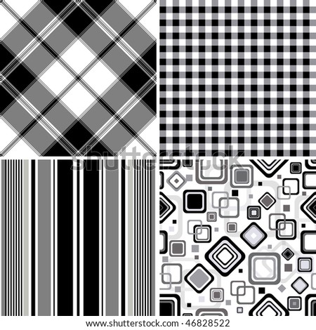 Collection seamless black-white and grey patterns  (vector, EPS 10)