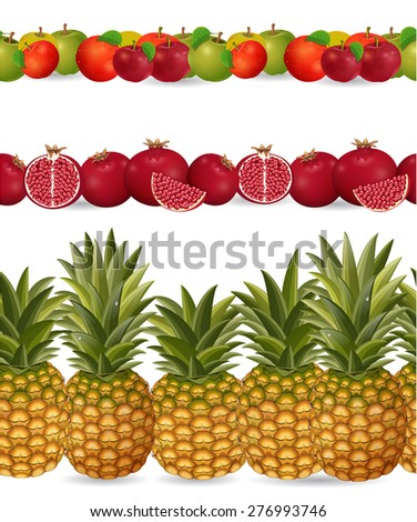 collection seamless borders with fruits on white background. apple, pineapple, pomegranate - stock vector