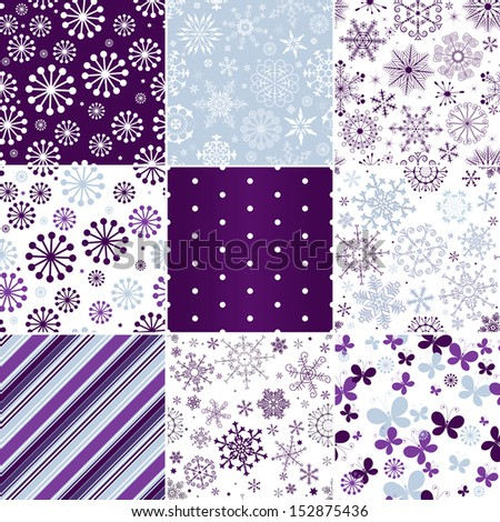 Collection seamless pastel christmas patterns with snowflakes, butterflies and strips (vector) - stock vector