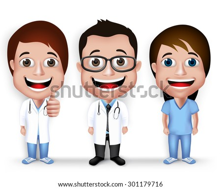 Collection Set of Realistic 3D Young Friendly Professional Doctor and Nurse for Medical Character Isolated in White Background. Vector Illustration - stock vector