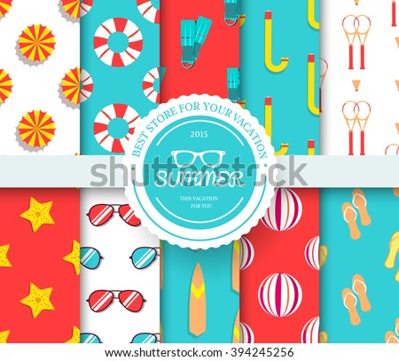 collection set of summer vacation seamless pattern. Beach umbrella, lifebuoy, diving, equipment, towel, ocean with label logo concept. Vector abstract template for greeting card or invitation design - stock vector