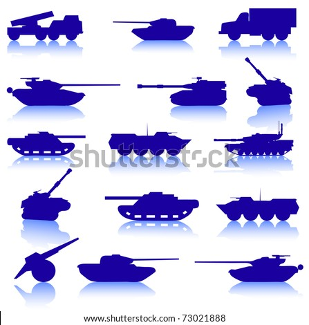 Collection set of tanks of guns and military technology - stock vector