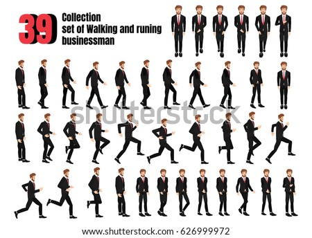 Collection Set Walking Running Businessman Sprite Stock Vector ...
