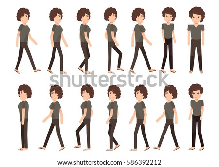 Collection Set Walking Woman Sprite Frame Stock Vector 586392212 ...